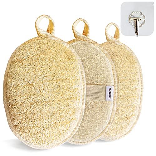 scrubber per il corpo esfoliante in luffa naturale (3 pezzi), realizzato in spugna di luffa per doccia ecologica e biodegradabile, luffa per donne e uomini