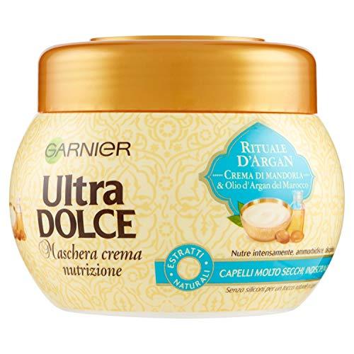 Garnier Ultra Dolce Maschera per Capelli Nutriente all'Olio di Argan e Crema di Mandorla, per Capelli Nutriti e Protetti