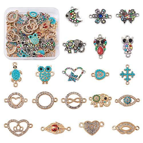 Cheriswely, 40 ciondoli in lega di strass smaltati, rotondi, a forma di farfalla, a forma di cuore, elefante, foglie, fiori, per gioielli e bracciali