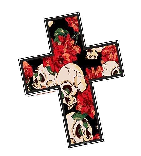 Crocifisso Christian Religioso Croce Motivo con Stile Tatuaggio Gotico Teschio & Rosa Design Vinile Auto Moto Adesivo (Piccolo) 122x94mm Circa