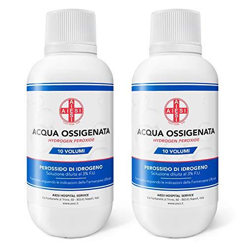 AIESI® Acqua Ossigenata disinfettante F.U. 3% 10 Volumi con tappo di sicurezza per bambini flacone da 250 ml (Confezione da 2 pezzi) # Made in Italy