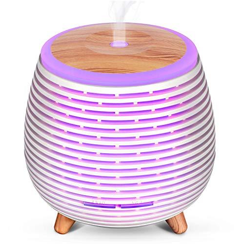 SALKING Diffusore di Oli Essenziali, USB Alimentato Diffusore di Aromi di Olio Essenziale, Diffusori Ambiente Elettrico con 7 Colori LED Luce Notturna, Umidificatore Ambiente Bambini
