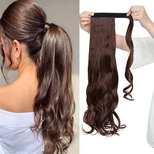 SEGO Coda Extension Capelli Mossi Ricci Clip in Ponytail Fiber Hair Sintetici Lunghi 50cm 100g Onda Bella - Marrone Intenso