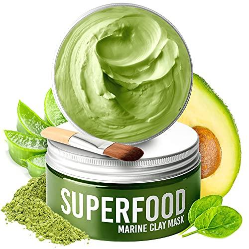 Maschera Viso di Plantifique 100% Vegana - Maschera Viso Purificante e Idratante - Maschera Argilla Verde con Superfoods 100 ml – Deterge e Restringe i Pori - Dermatologicamente Testata