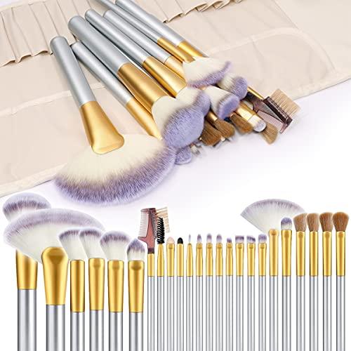 Pennelli Make Up, Vander 24 pezzi Set di pennelli professionali per trucco trucchi,MakeUp Set di pennelli, custodia da viaggio, champagne