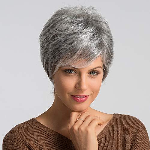 HAIRCUBE Parrucche per capelli umani per donne Abbastanza corte parrucche grigie per donne bianche