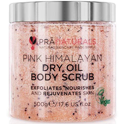 Scrub corpo al Sale dell'Himalaya PraNaturals 500 g, Ricco di minerali naturali e vitamine nutrienti, Elimina le cellule morte e ringiovanisce la pelle, Ideale per tutti i tipi di pelle