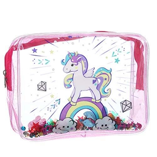 Einhorn - Beauty case trasparente con motivo unicorno, grande capacità, per bambine e donne