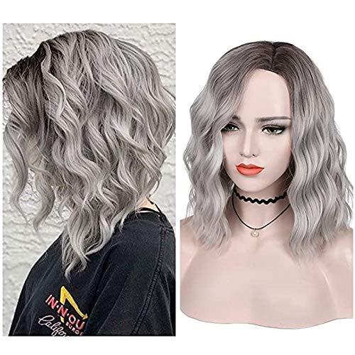 Parrucca da donna, colore grigio-argento sfumato con radici nere, alla moda, ondulata, resistente al calore, fibre sintetiche, con cuffia da 35,6 cm