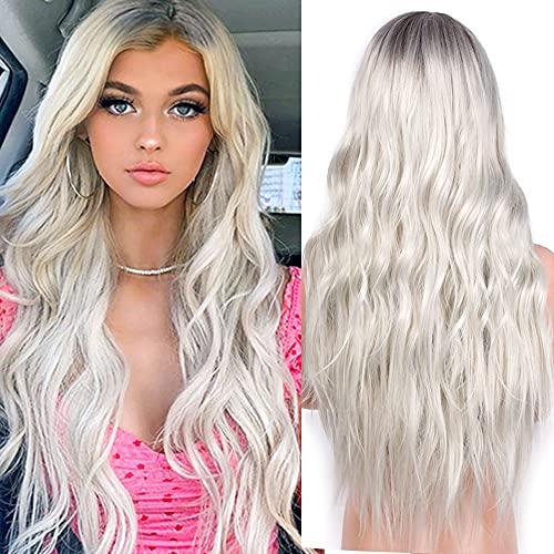 YEESHEDO Parrucca donna lunga ondulata grigio argento, parrucche capelli naturale lunghi ricci ondulati capelli ombre platino blonde wig 26 pollici