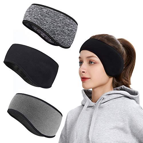 Fascia per Capelli Invernale, Roysmart Headband Sport Fascia Paraorecchie Fascia Elastica per Running, Sciare, Uomo, Donna - 3 Pezzi