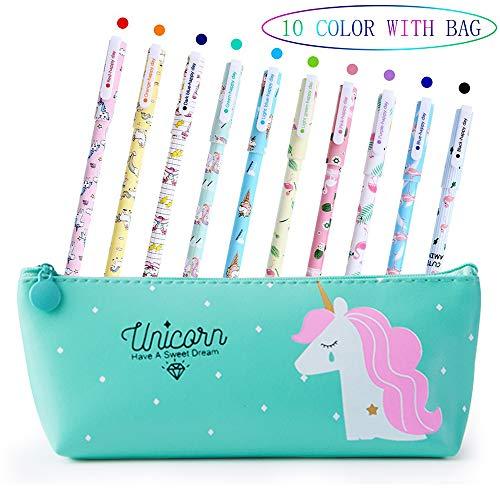 Penne per Unicorno Ragazze Regalo di Compleanno per Bambine, VSTON Simpatiche penne per unicorno Set per penne a Sfera Lattine per Matite Colorate per Bambini Età 3 4 5 6 7 8 9 10 Anni, 10 Pz