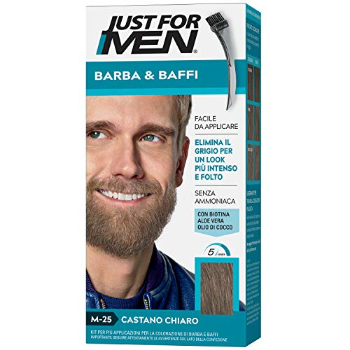 Just for men Barba & Baffi – Tinta M-25 Castano Chiaro Per Uomo Senza Ammoniaca Con Pettine Appplicatore - Base Color 4 G E Attivatore Color 4 G, M25 – Castano Chiaro