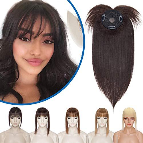 Silk-co Toupet Capelli Veri Extension Clip Capelli Naturali Remy Human Hair Topper per Donna Uomo 35 cm (38 g) #2 Marrone Scuro