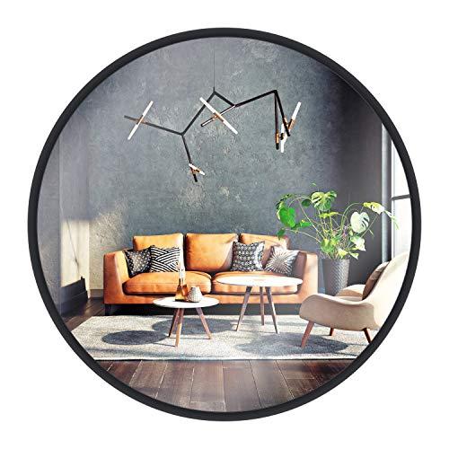 Specchio da parete di GOLD&CHROME, rotondo, con cornice in alluminio | Superficie dello specchio rivestita in teflon e resistente all'umidità | Profondità di 2 cm, facile da installare