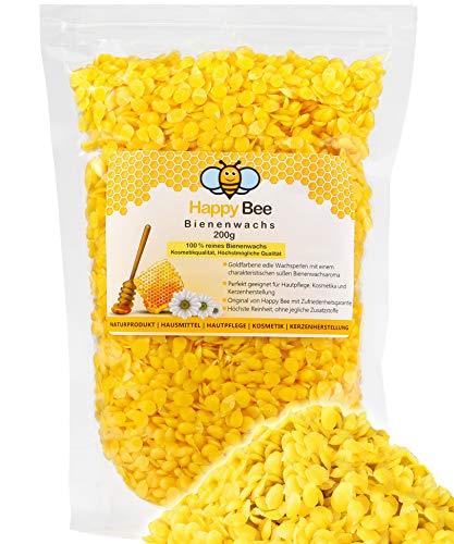 Cera d'api Pura al 100% - 200 g - Palline Gialle di Cera d'api. Prodotto Perfetto per Cosmetici e per la creazione di Candele con Tutta la Famiglia
