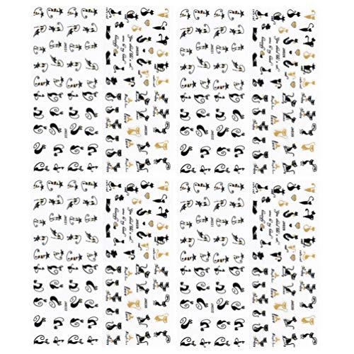 Lurrose 16Pcs Adesivi per Unghie di Halloween Adesivi per Unghie Autoadesivi 3D per Gatti Neri Adesivi per Unghie Fai da Te Stencil per Salone di Bellezza