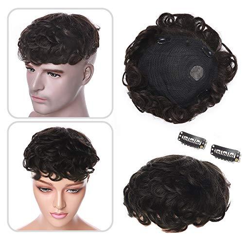 Elailite Hair Topper in Lace per Donna Uomo Capelli Veri Clip Extension 16cm*19cm con Mono Protesi Toupet Toupee Human Hair Indiani 15cm 35g #2 Marrone Scuro