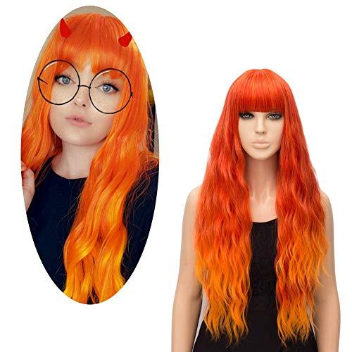 Parrucca Ondulata Lunga Arancione Fuoco, FiveFour Parrucche Donna Sintetiche con Frangia per Uso Quotidiano e Festa