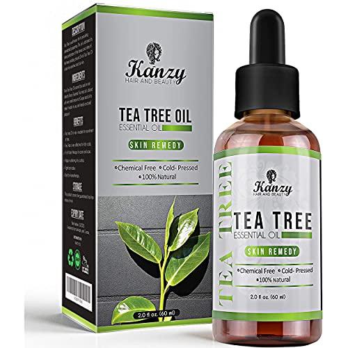 Kanzy Tea Tree Oil 60ml Olio di Albero Del Tè per Viso, Corpo, Unghie, Capelli e Aromaterapia Diffusore, Olio Essenziale Tea Tree Biologico