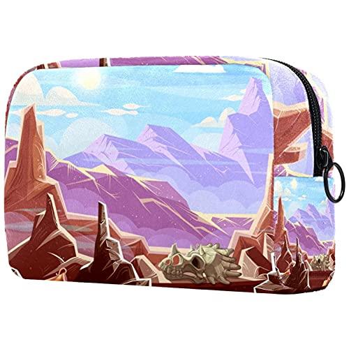 Borse da trucco portatile con dinosauro fossili archeologici borsa da trucco stampata cosmetica, borsa cosmetica per le donne viaggio cosmetici borsa borsa da toilette