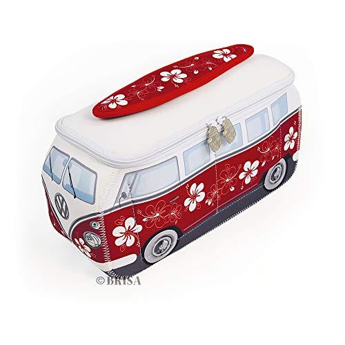 BRISA VW Collection - Volkswagen Hippie Bus T1 Camper Van Borsa Universale 3D da toilette-bagno di Neoprene, Beauty-case da Viaggio, Trousse per trucchi-make-up, Porta-pranzo, Valigeria (Ibisco/rosso)