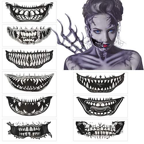 AirSMall 10pcs Halloween Tatuaggi temporanei Adesivi teschio Giorno dei morti Cranio Viso Tatuaggio Cicatrici Graffi per attaccare Zombie Tatuaggio adesivo per Halloween Costume Horror Party