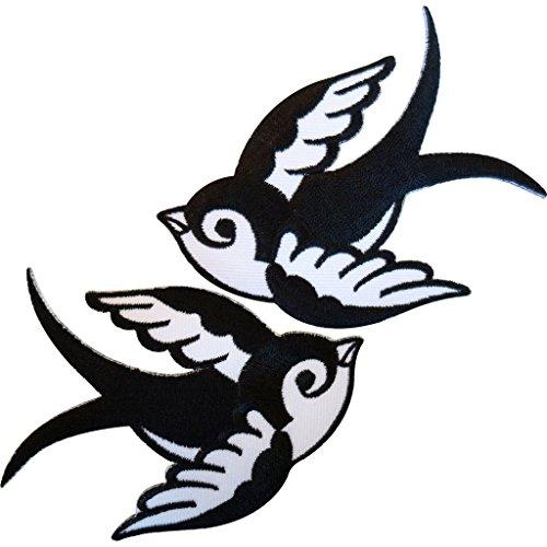 Toppa ricamata a forma di rondine, da cucire o stirare sul vestiti, confezione da 2 toppe, colori: bianco e nero
