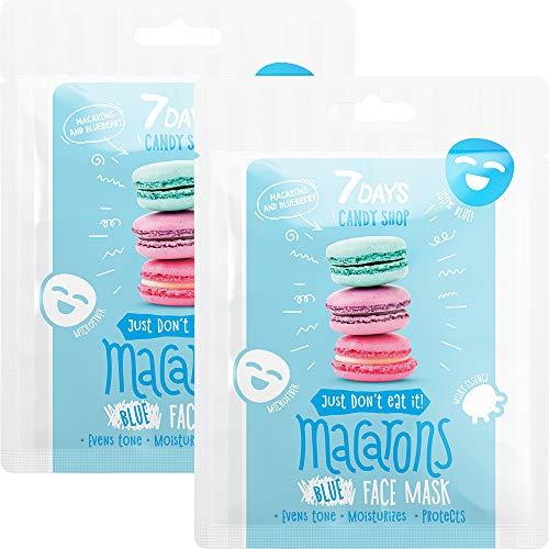 7DAYS Candy Shop Maschera Viso in Tessuto 2 pezzi ai Mirtilli Yogurt Latte Maschera in Fogli Monodose Per Tutti i Tipi di Pelle Idratante