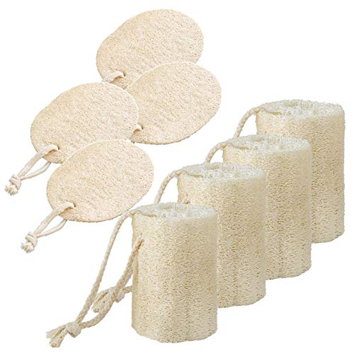 Spugna di luffa naturale,8 pezzi Sponge da Cucina Eco con Corda,Organic Egyptian Loofah Esfoliante,biodegradabile,per Lavare i Piatti,Fare il Bagno,pulizia della pelle morta,lavastovigli,massaggio