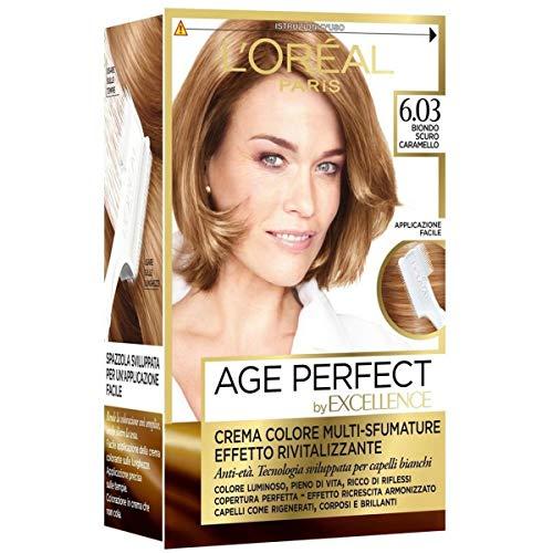 L'Oréal Paris Tinta Capelli Excellence Age Perfect, Effetto Rivitalizzante, 6.03 Biondo Scuro Caramello, Confezione da 1