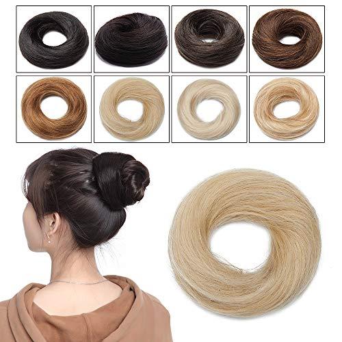Elailite Chignon Capelli Veri Elastico Extension senza Clip 100% Remy Human Hair Lisci Fermacoda Hair Bun Finto Scrunchies Toupet 23g #613 Biondo Chiarissimo