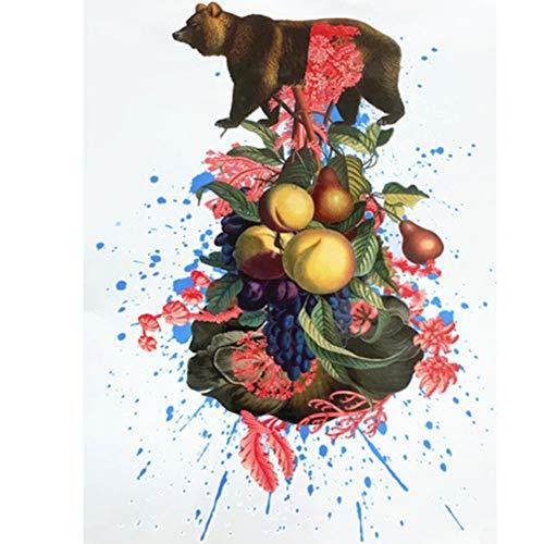 JUSTFOX – Tatuaggio temporaneo a forma di orsetto, con fiori e frutti