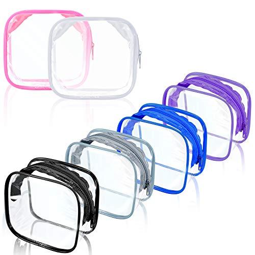 6 Mini Borsa Organizer da Viaggio in PVC Trasparente Custodia Cosmetica Trucco Borsa da Toilette Trasparente con Cerniera PVC Borsa da Toilette Organizer Portatile per Donne e Uomini
