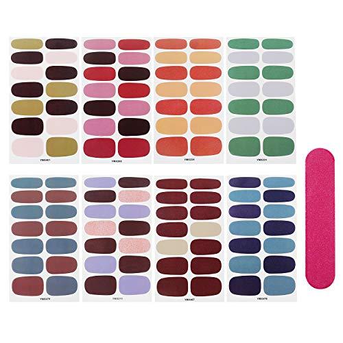 8 fogli adesivi per unghie nail art tinta unita manicure set, 112 pezzi pastello bella moda bella decorazione fai da te lamine per unghie adesivi autoadesivi per nail art lamina per unghie tatuaggi