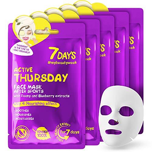 Maschera in Tessuto 5 pezzi Estratto di Mirtillo Peony Effetto Antiossidante Tutti i Tipi di Pelle Recupero dell'acne 5x28g | 7DAYS BEAUTY WEEK THURSDAY