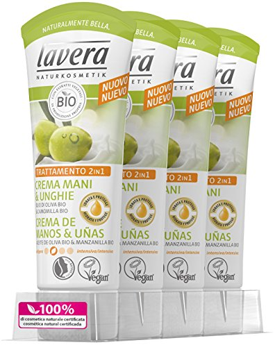 Lavera Crema Mani e Unghie Con Olio Di Oliva E Bio Camomilla–N99–Cosmetici naturali 100% Certificato–Cura della pelle–4contenitori da 75ml