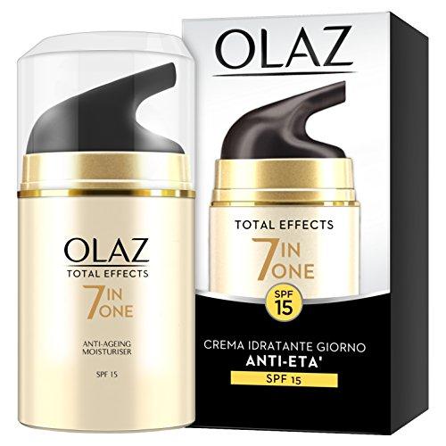 Olaz Total Effects Crema Viso Idratante Giorno Antirughe, 7 Benefici in 1, Protezione Solare SPF15, Ottima come Base Trucco, con Niacinamide, Vitamina C, Vitamina E e Vitamina B3 - 50 ml