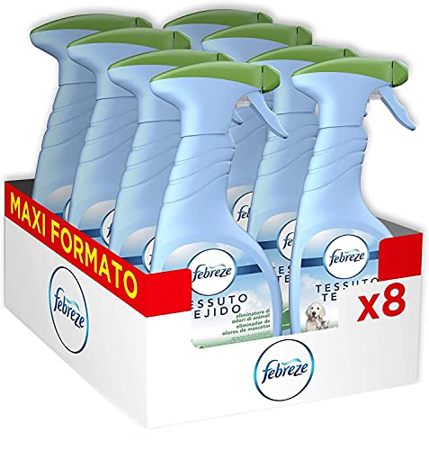 Febreze Deodorante per Tessuti SprayIgienizzante, 8 confezioni x 500 ml, Ambi Pur, Elimina gli Odori di Animale, Rinfresca l'Ambiente, Maxi Formato