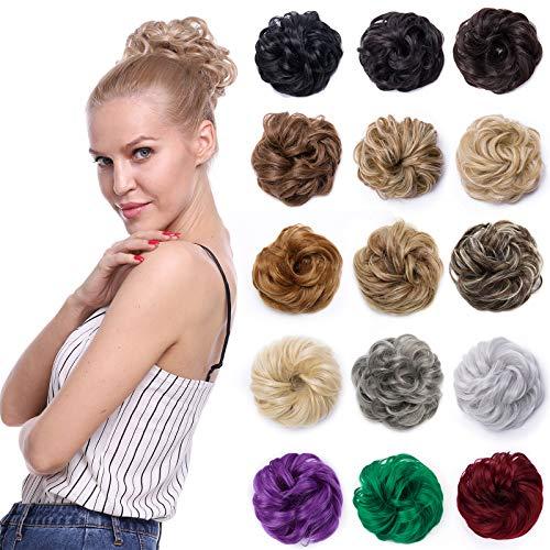 Silk-co Ciambella per Chignon Capelli Finti Coda Extension Elastico per Chignon Capelli Postici Ricci Messy Hair, Marrone Medio
