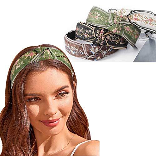 Bohend Boho Fascia per capelli Floreale annodata Turbante Cerchio per capelli Largo etnico Ricamo Accessori per capelli per Donne e Ragazze (4 pezzi)