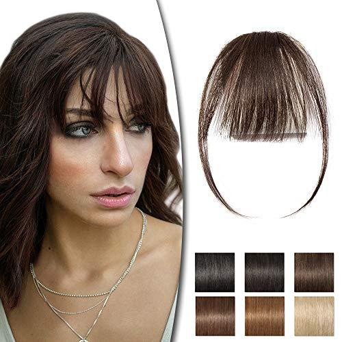 Rich Choices Frangia Clip Capelli Veri Extension Frangetta Finta 23g Capelli Umani Remy Hair Frangia Sottile con Tempie, 2 Marrone Scuro