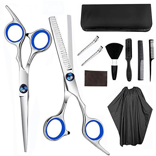 TWBEST Set di forbici da parrucchiere, forbici per sfoltire i capelli, set con mantella da barbiere, rasoio e clip, set professionale per tagliare i capelli