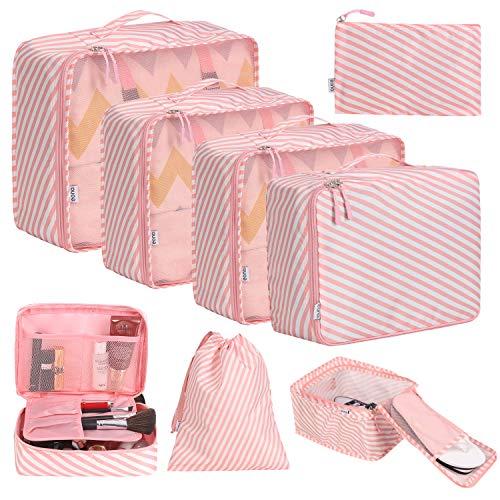 Eono by Amazon - Organizer Valigia Set di 8, Cubi da Viaggio, Cubi di Imballaggio Organizer Valigia Essential Organizer Borse da Viaggio Impermeabili Sacchetto da Viaggio Packing Cubes, Striscia