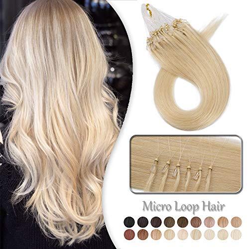 Elailite Extension Microring Capelli Veri Anelli Biondi 100 Ciocche Human Hair Lisci Umani Naturali con Anellini 100% Remy - 50cm 50g #60 Biondo Platino