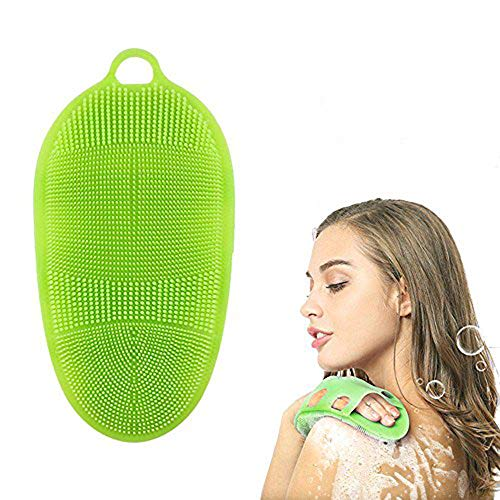 Aolvo - Spazzola per il corpo in morbido silicone, guanto esfoliante per la pelle, per massaggi termali, 100% puro silicone, per la doccia o la vasca da bagno Verde
