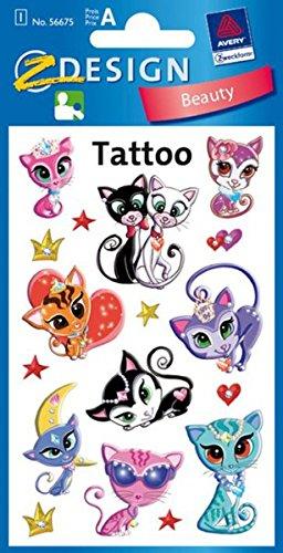 Avery Zweckform 56390 Tatuaggi temporanei per bambini, Designs Gatto deluxe, 1 foglio x 10 tatuaggi