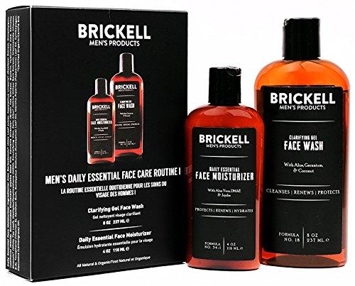 Brickell Men's Set per la cura quotidiana del viso - Gel detergente per la pulizia del viso e Lozione idratante per il viso - Naturale e Organica