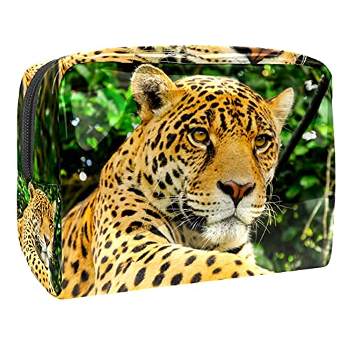 Cosmetic Bag for Women Animal Leopard Adorable Roomy Makeup Bags Travel Waterproof Toiletry Bag Accessories Organizer 7.3x3x5.1 Inch