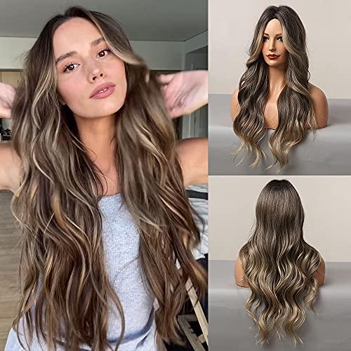 HAIRCUBE Parrucche lunghe marroni per donne, capelli sintetici con evidenziazione, parrucca ondulata per cosplay, festa 28'